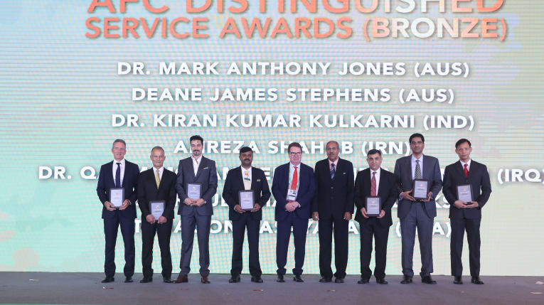 Mark Jones and Deane Stephens were awarded the AFC Distinguished Service Awards