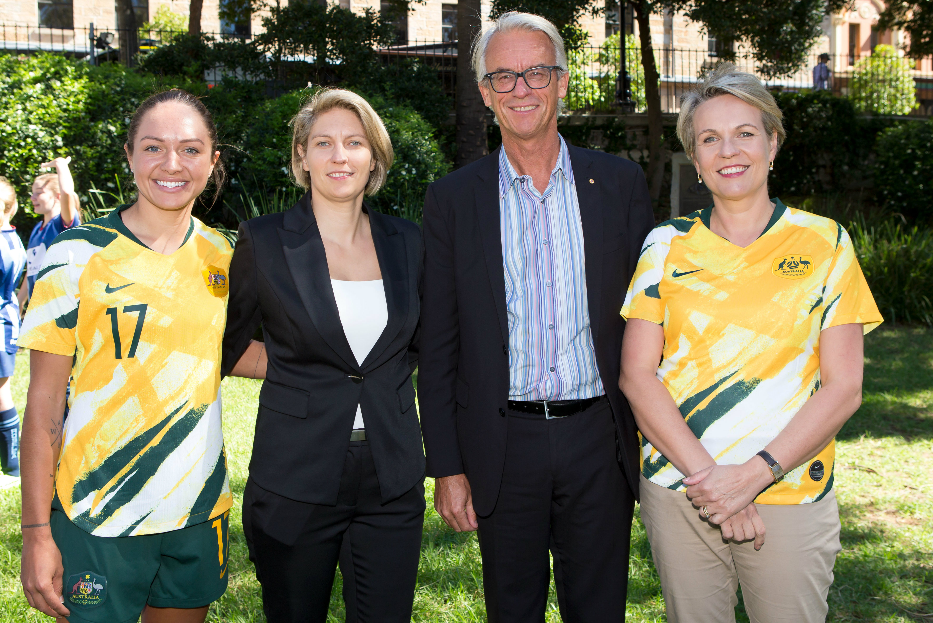 Kyah Simon, Emma Highwood, David Gallop and Tanya Plibersek MP