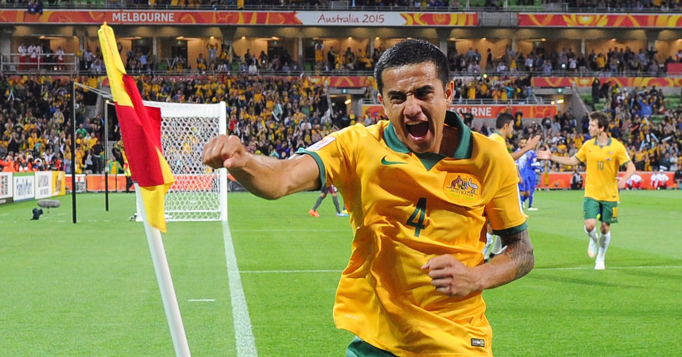Tim Cahill celebrates scoring a goal at the 2015 AFC Asian Cup.