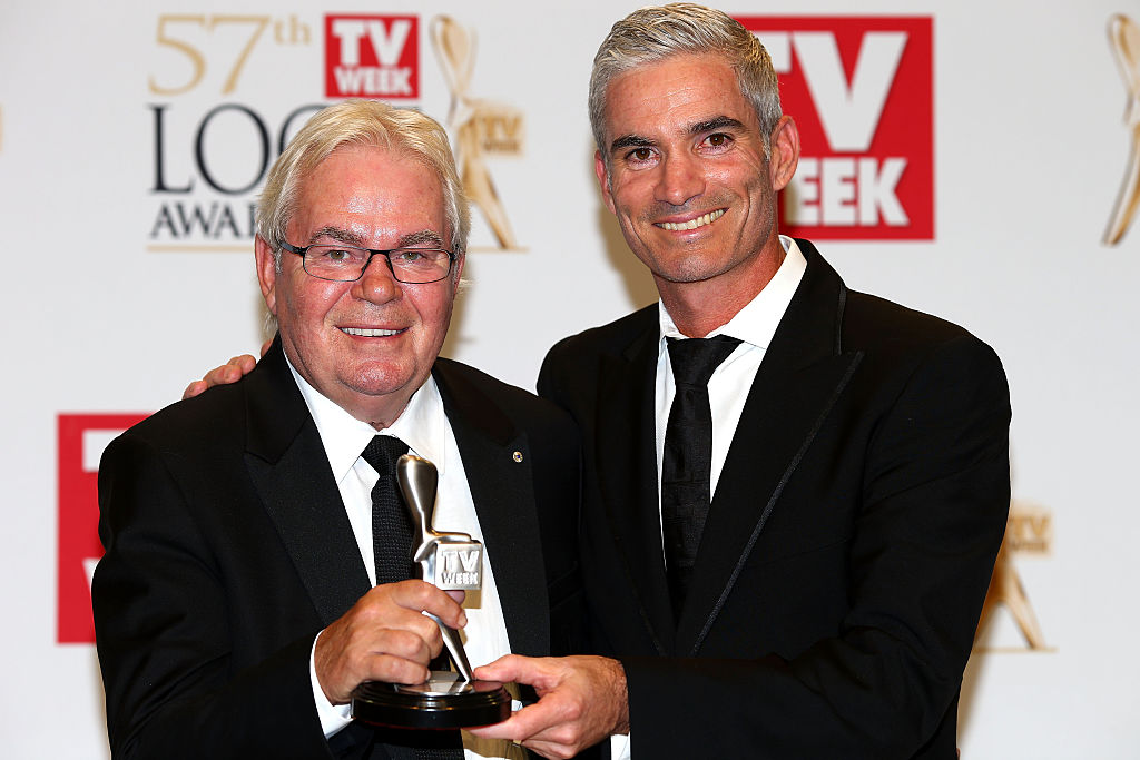 Les Murray (L) and Craig Foster (R) pose after winning a Logie for Most Outstanding Sports Coverage at the 57th Annual Logie Awards in 2015.