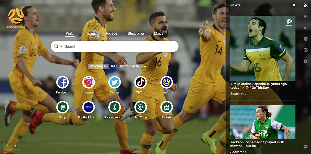 Socceroos browser example