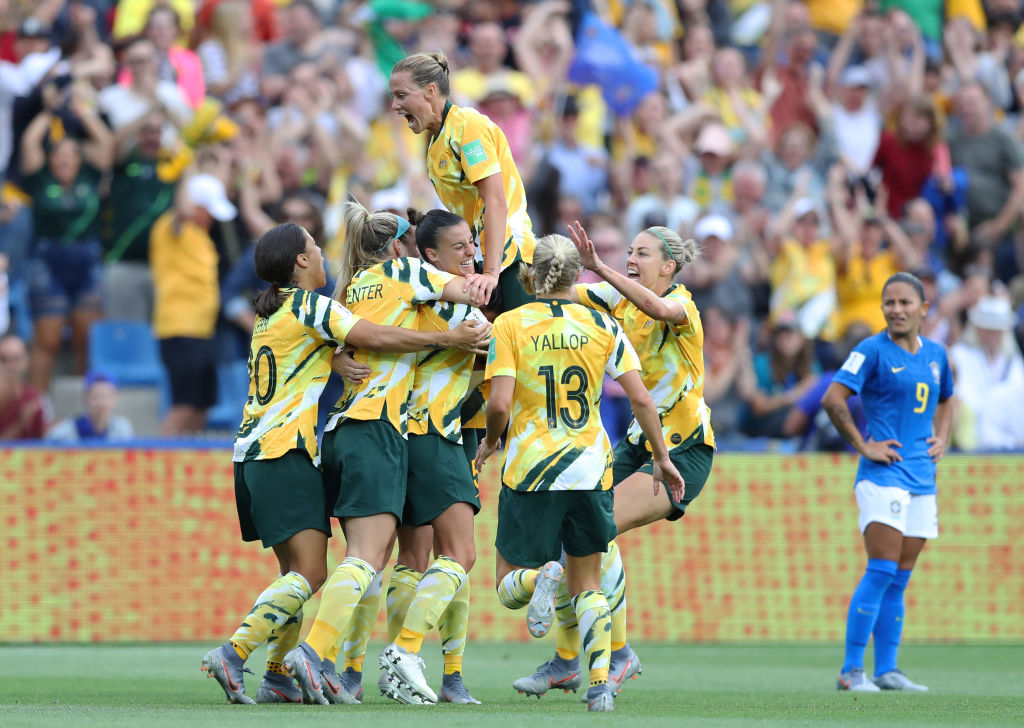 Celebrating another famous win over Brazil at the FIFA Women's World Cup.
