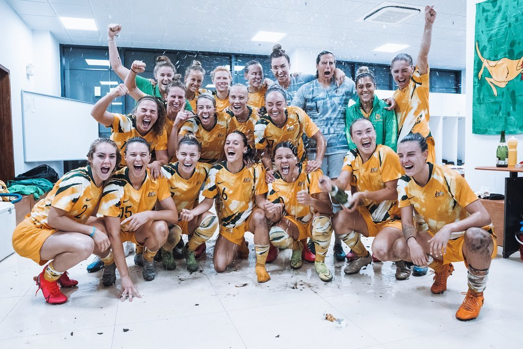 The Matildas celebrate after qualifying for the Tokyo 2020 Olympic Games