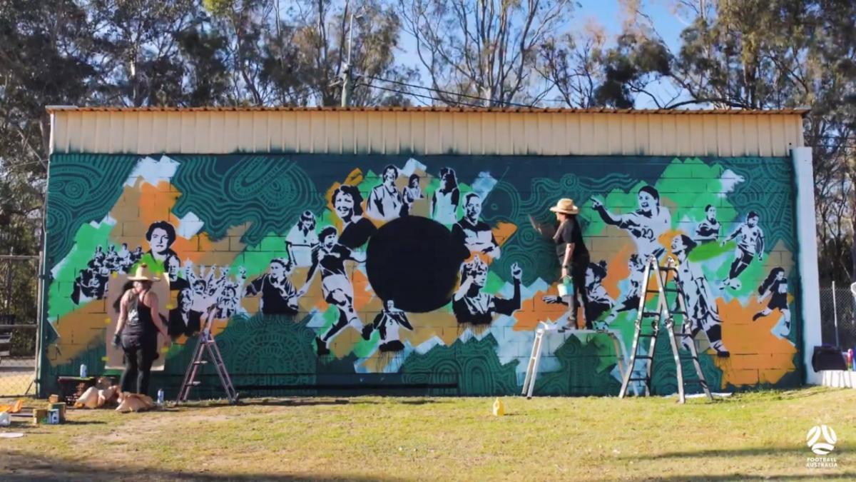 Mural timelapse: 100 years of Women's Football in Australia