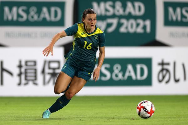 Hayley Raso on the ball v Japan