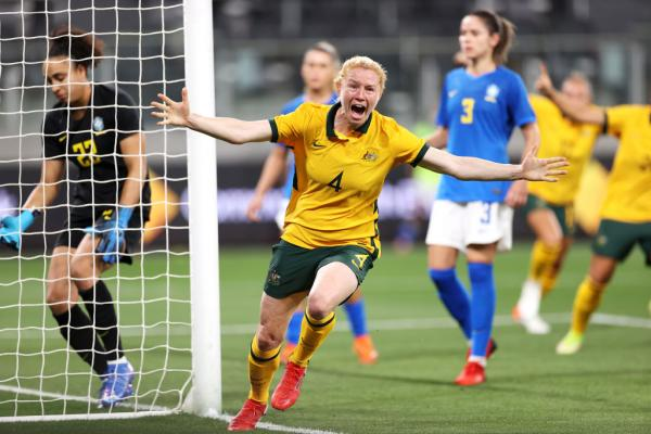 Clare Polkinghorne celebrates against Brazil