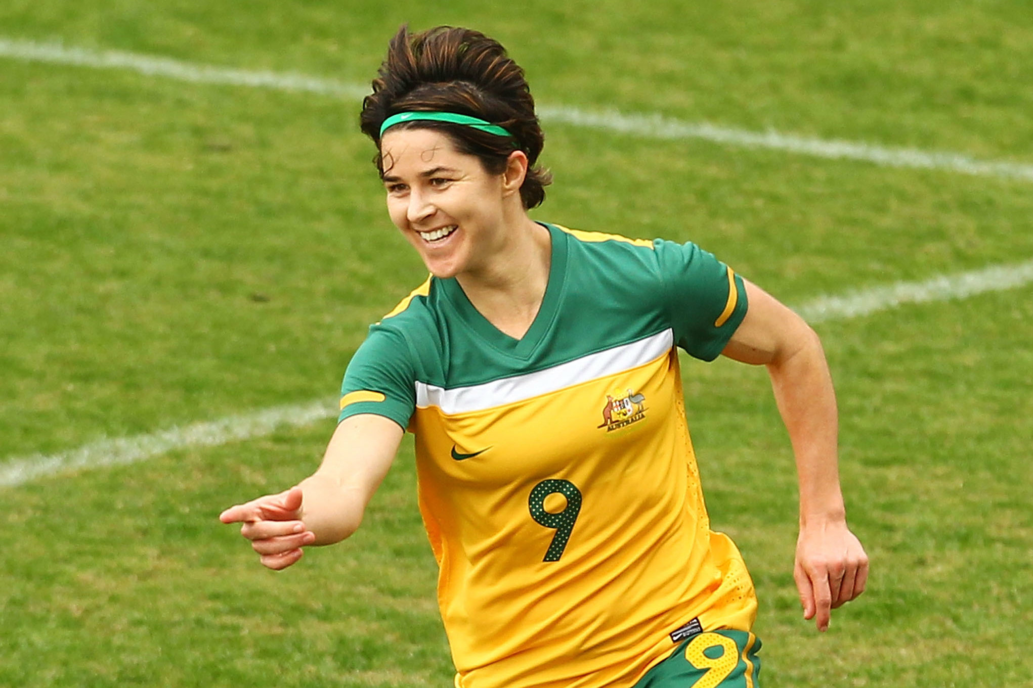 Sarah Walsh celebrating one of her many goals for the Westfield Matildas.